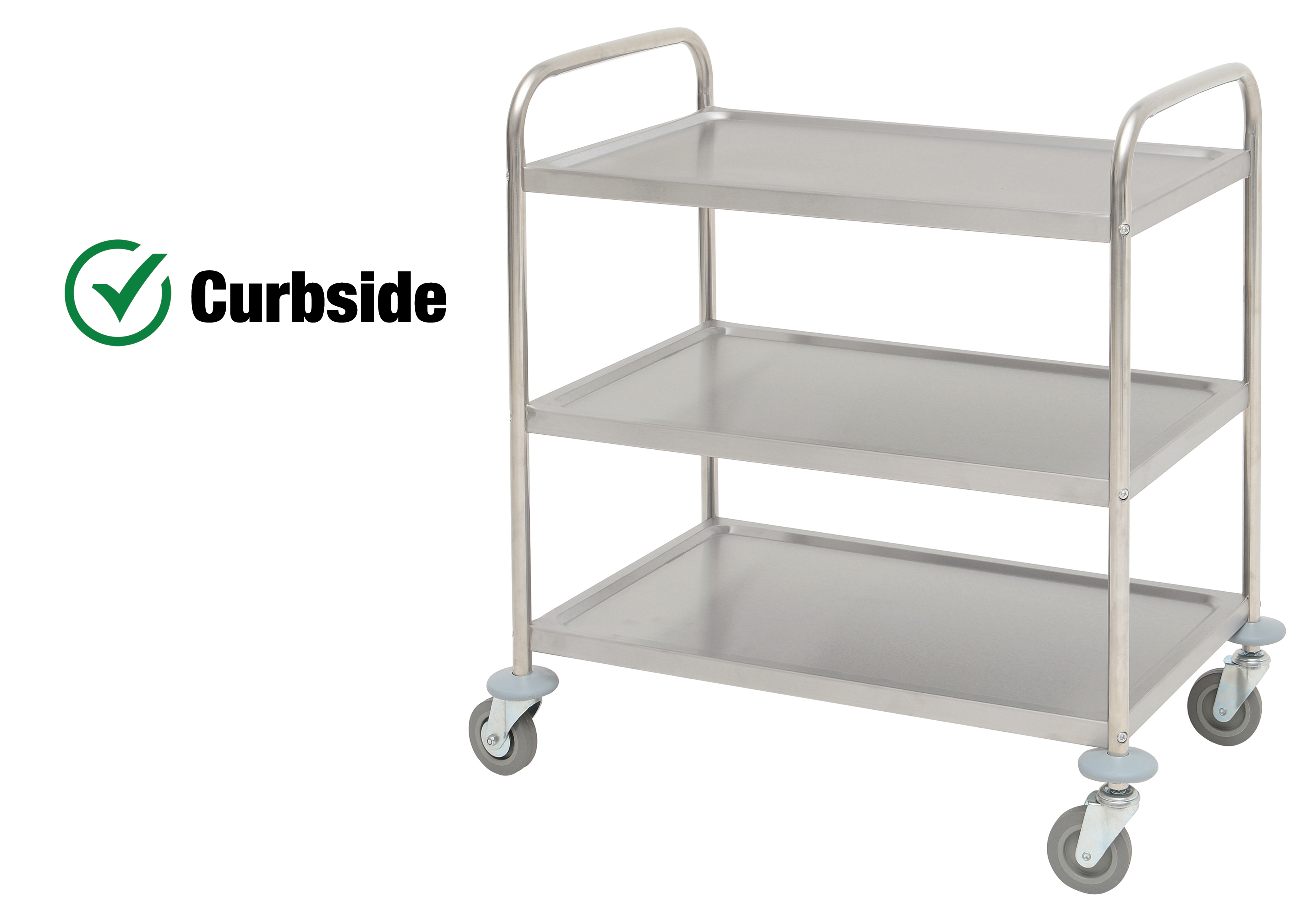 HUBERT Stainless Steel 3-Shelf Large Trolley Cart