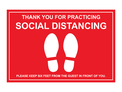 Red Vinyl Social Distancing Floor Marker
