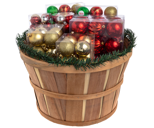 ornaments in bushel basket