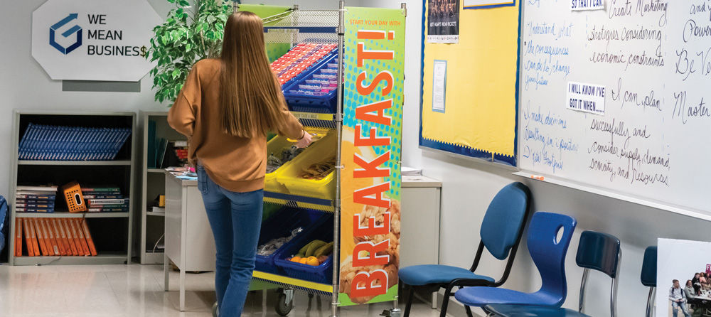 Feeding students in the classroom and hallway