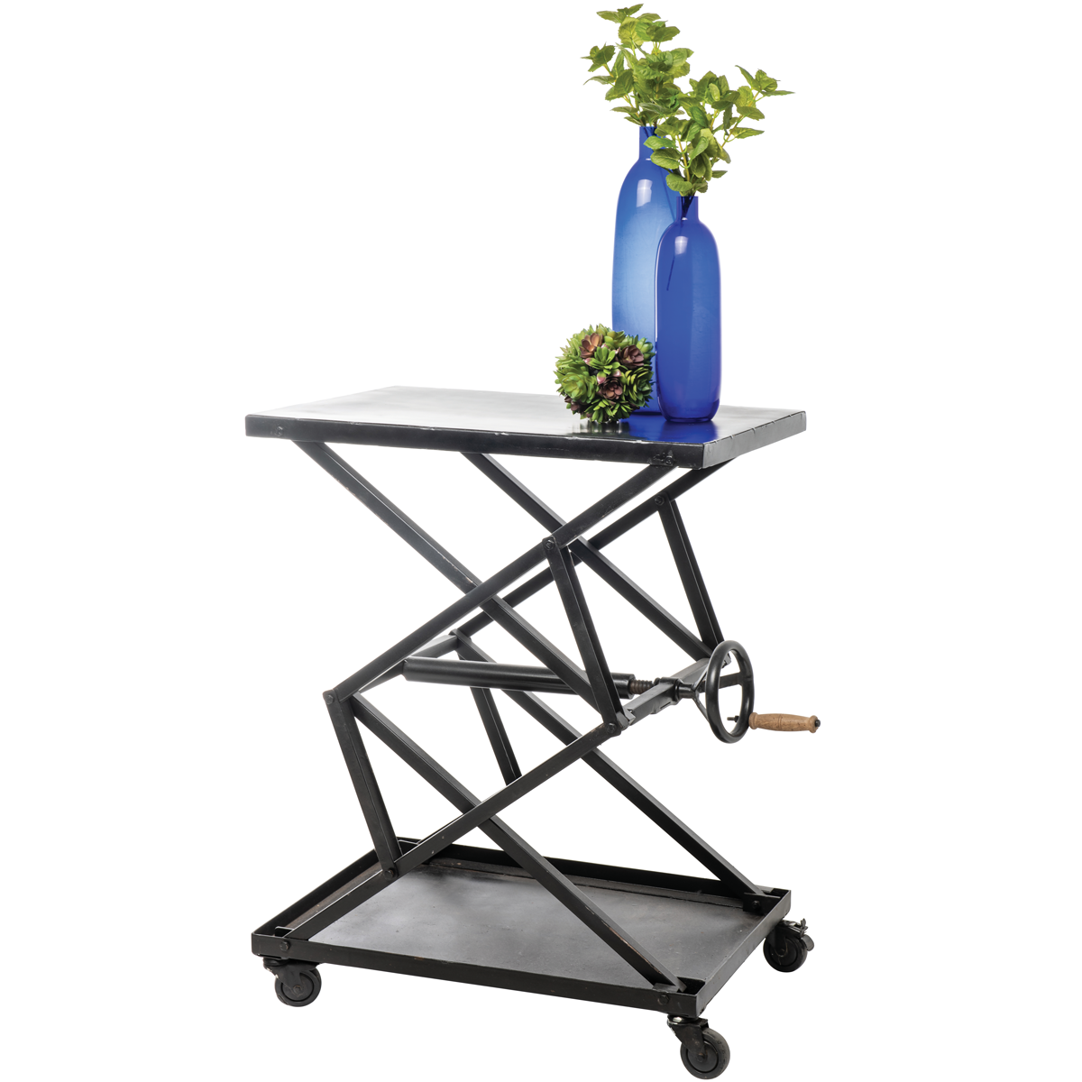 Expressly Hubert Black Iron Crank Trolley Table