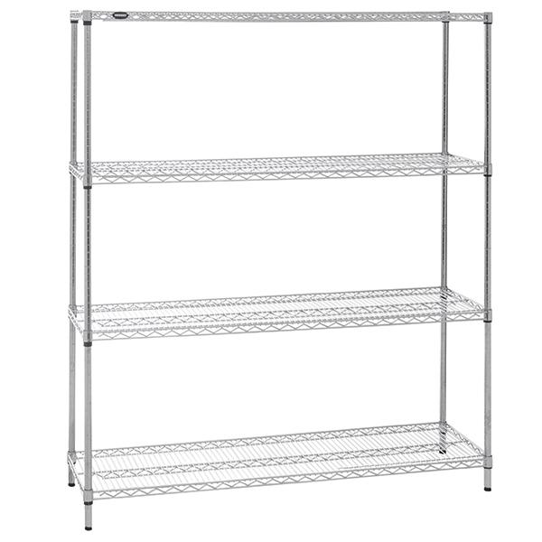 HUBERT 4-Shelf Chrome Plated Wire Shelving