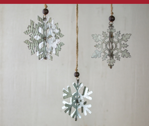 Galvanized Snowflake Ornaments