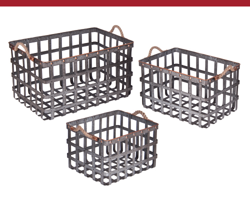 Galvanized Woven Metal Baskets