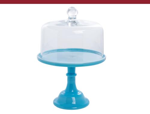 Mosser Glass Vintage Robin Egg Blue Glass Cake Stand
