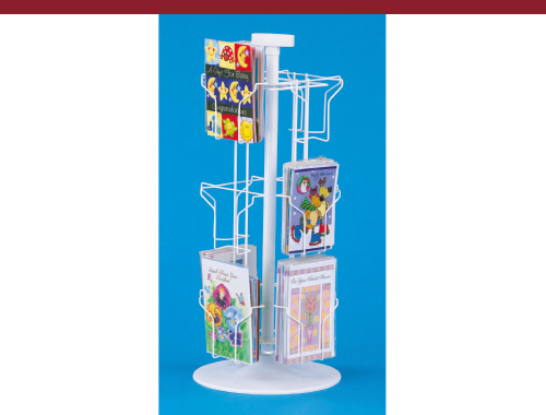White Greeting Card Counter Rack