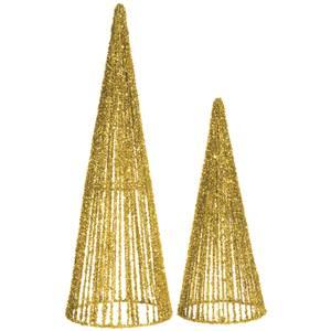 Gold Glitter Topiary Cones