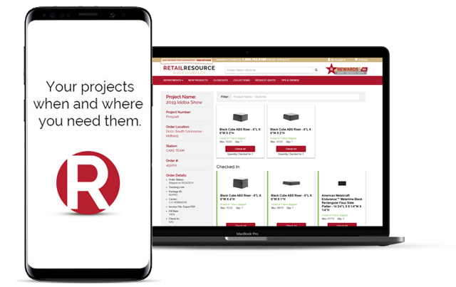 Retail Resource projects app available on mobile and desktop